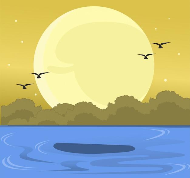 鳥と太陽が沈む海の夏の風景