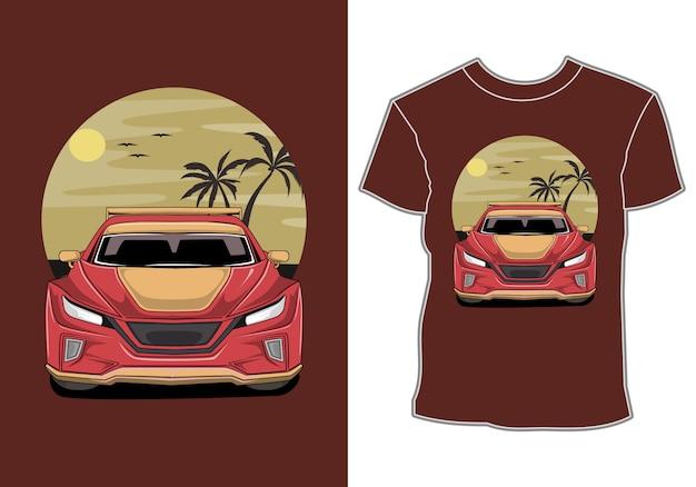 Автомобиль лето закат пляж море природа линия графика иллюстрация дизайн футболки