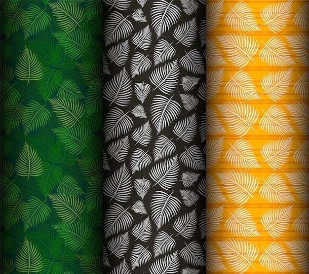 Набор шаблонов бесшовные пальмовых листьев.