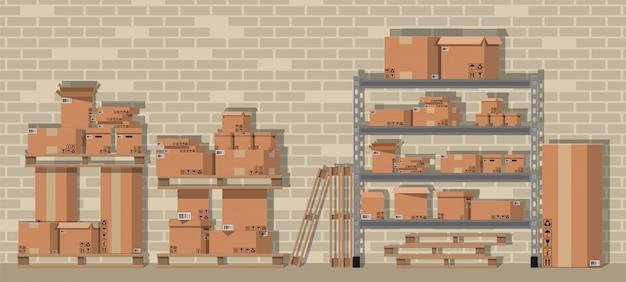 倉庫の棚に段ボール箱を山します。