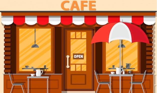 Кафе магазин экстерьера. здание уличного ресторана.