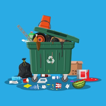 ゴミがいっぱいのゴミ箱。あふれるコンテナ