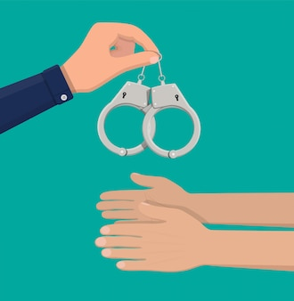 Современные металлические наручники.