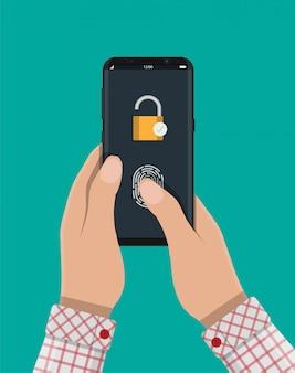 Запертый смартфон с замком и отпечатком пальца