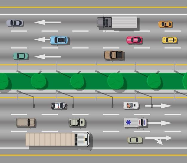 Коллекция различных транспортных средств. вид сверху на дорогу