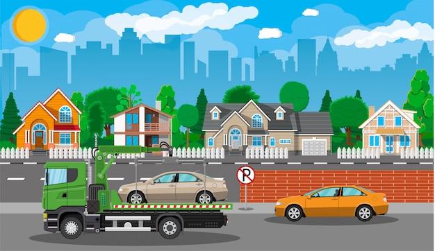 レッカー車。市道側支援サービス。