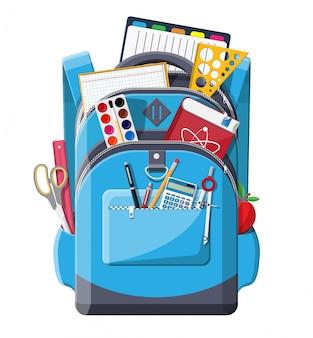 Обратно в школу. школьные принадлежности в рюкзаке.