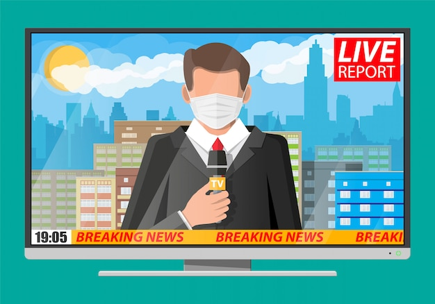 Телеведущий читает мировые новости