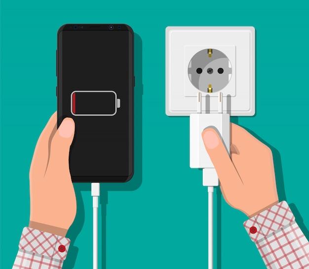 Смартфон и зарядное устройство.