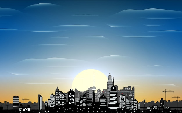 Город небоскребов силуэт ночью