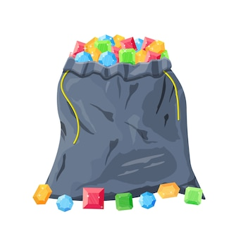 Тканевая денежная сумка, полная различных бриллиантов.