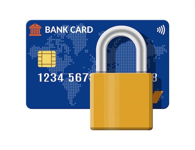 パッドロック付きの銀行またはクレジットカード。