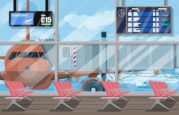 空港のパッセンジャーターミナルの待合ホール