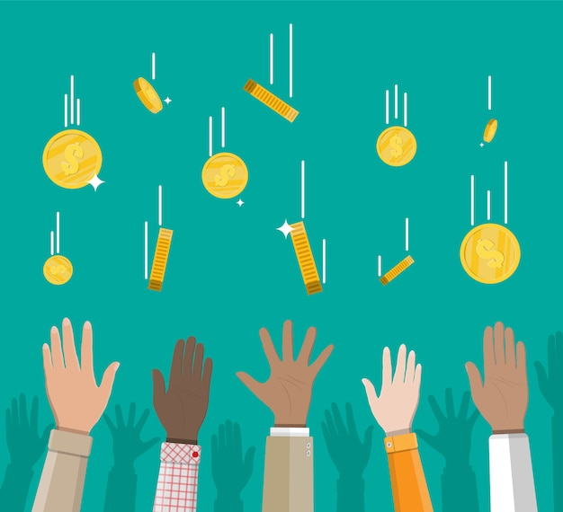 落下の金貨と手。お金の雨。