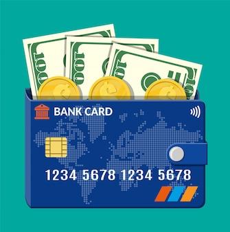 Банковская карта кошелек с долларовыми банкнотами и монетами