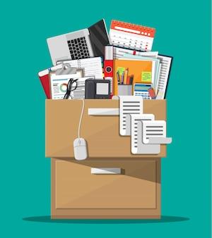 事務用家具。キャビネット、ロッカー、引き出し