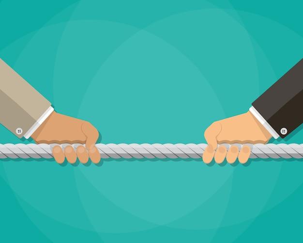 綱引き、ビジネス競争の概念