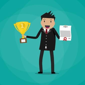 証明書とトロフィーを保持している実業家の勝者