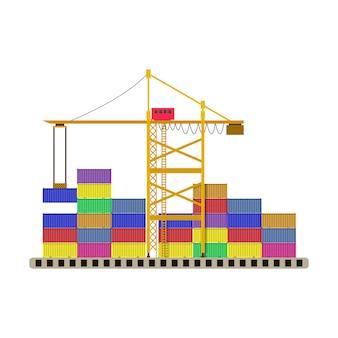 アルゴ港のコンテナクレーンとカラフルなコンテナー
