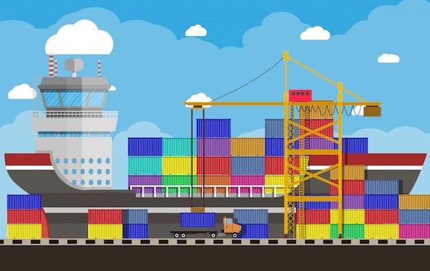貨物船、コンテナクレーン、トラック。港湾物流