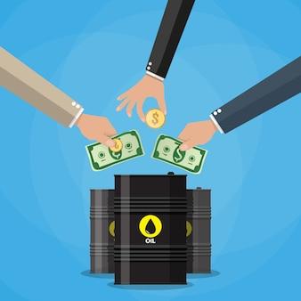 Рука бизнесмена, собирая деньги в баррель нефти