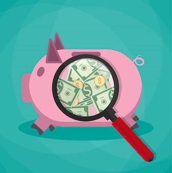 ピンクの貯金箱の拡大鏡とお金現金ドル金貨を見る