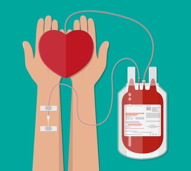 Мешок крови и рука донора с сердцем. пожертвование