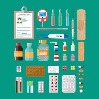 薬の丸薬カプセルと医療機器
