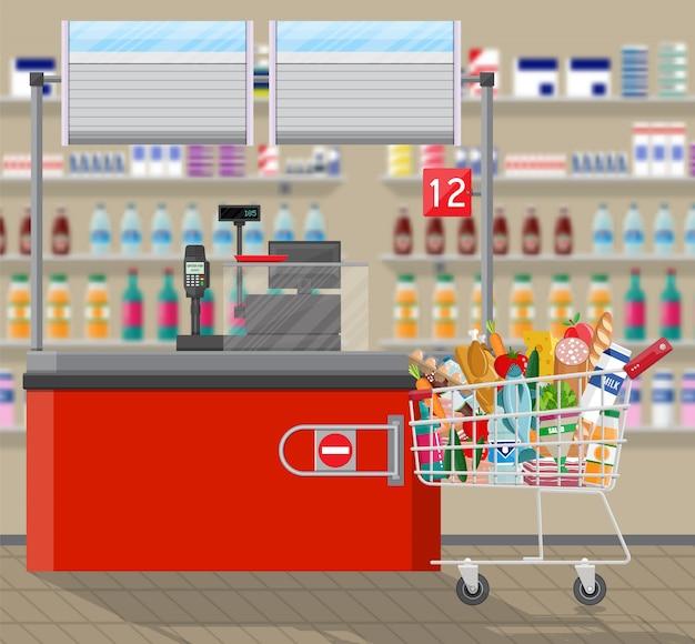 キャッシャーカウンター職場。スーパーマーケットのインテリア