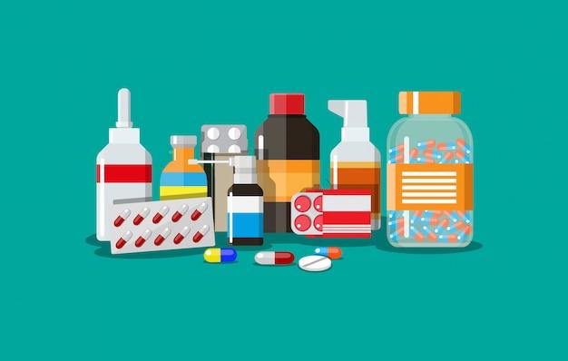 Разные медицинские таблетки и бутылки