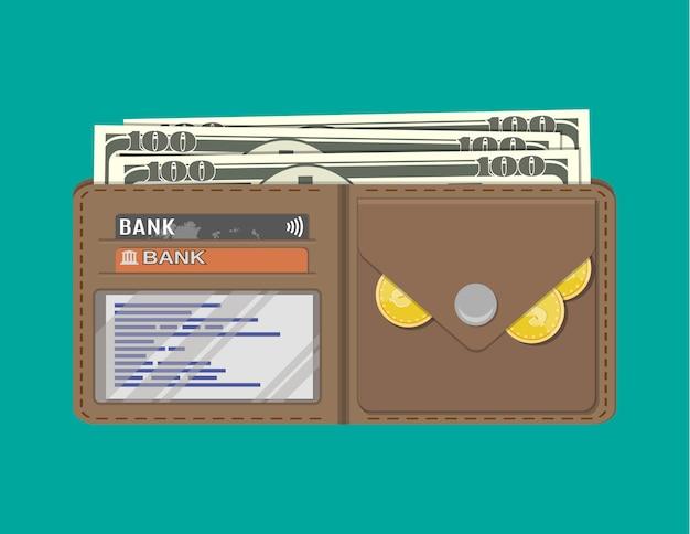 クレジットカードの黄金のコインと革の男性財布