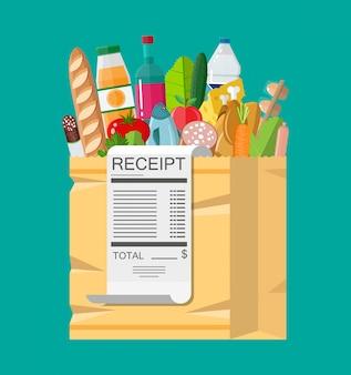Сумка с продуктами и квитанцией