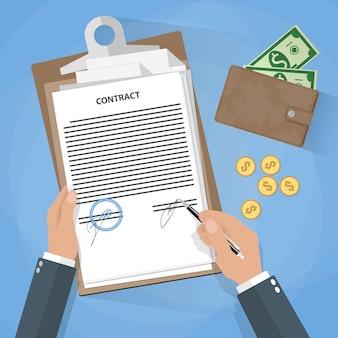 Подписание документа бизнесмена