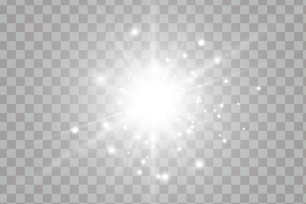 透明な太陽光特殊レンズフレア効果。