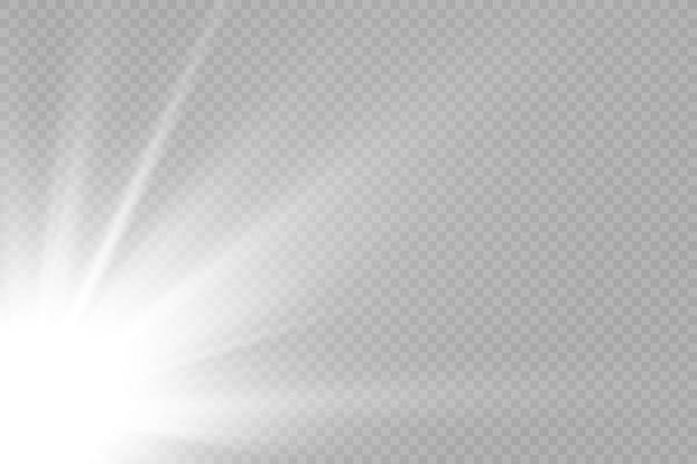 透明な太陽光特殊レンズフレアライト効果。