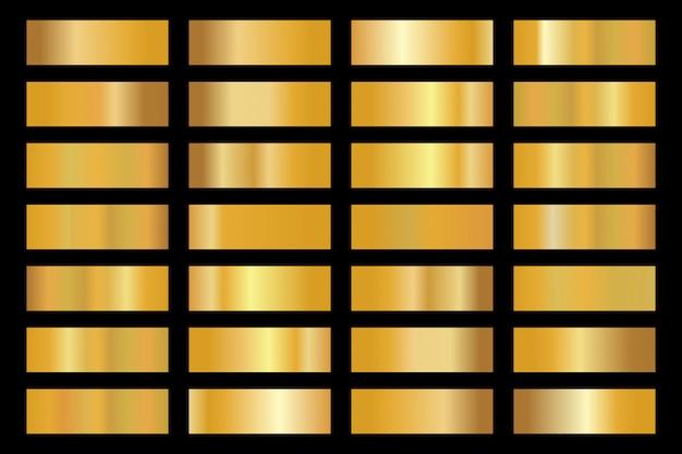 ゴールド背景テクスチャアイコンパターン。光沢のある黄金の金属箔グラデーションセット