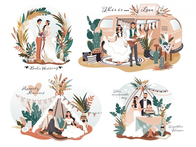 自由奔放に生きるスタイル、ロマンチックなカップルの漫画のキャラクター、イラストで結婚式