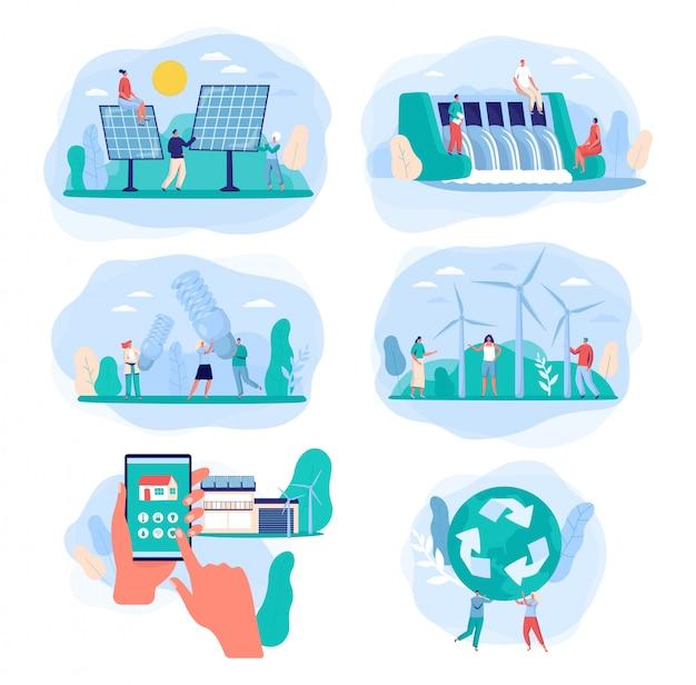 Зеленые источники энергии, иллюстрация электричества