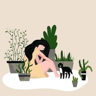 猫と観葉植物、イラストが付いている床に座っている女の子