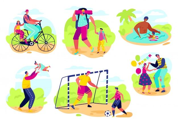 Отец, играя с ребенком, плоский стиль иллюстрации. счастливый папа проводит время с дочерью. день отца играет в футбол с сыном, семейное время вместе на улице, мультипликационный персонаж