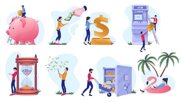 銀行とお金の操作、創造的な概念図