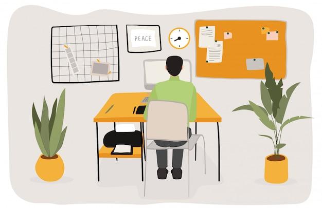 Укомплектуйте личным составом сидеть в шкафе, работая мужчине характера, размерах офиса, плоской иллюстрации. мужской клерк, компьютер, принтер, цветок.