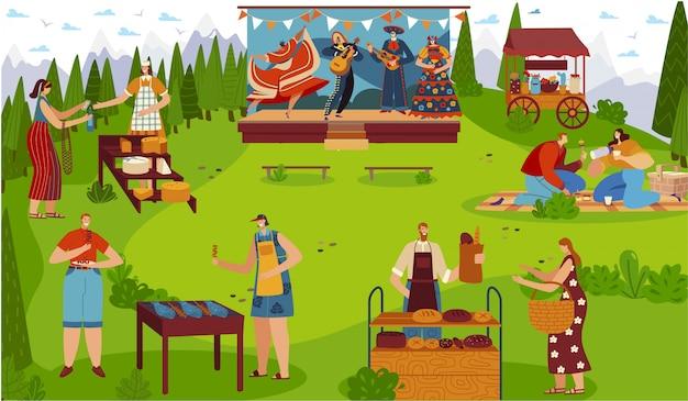Фестиваль еды на открытом воздухе, люди празднуют традиционный культурный праздник пикник, иллюстрация