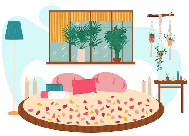 愛の巣、大きなベッド、マッサージ、スパ、リラックスのための素敵な部屋、イラスト。ロマンチックな場所の装飾のバラの花びら、タオル、花。