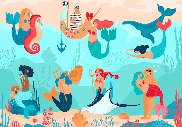 Русалки под водой, герои мультфильмов люди иллюстрации