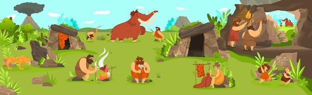 Доисторическая жизнь людей в поселении первобытного племени, мужчины, охотящиеся на мамонтов и играющие дети, иллюстрация