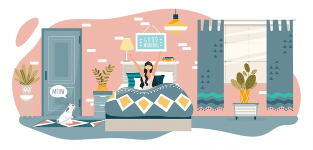 Доброе утро в спальне счастливая женщина просыпается в постели у себя дома после сна, отдыха людей здорового и иллюстрации образа жизни.