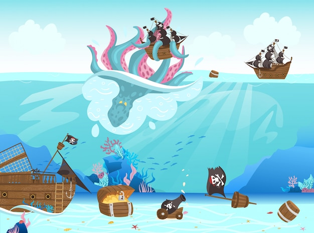 海賊船難破船、巨大なタコが海底の漫画イラストに黒い帆を取っています。
