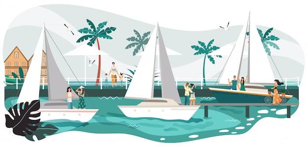 海辺の遊歩道の夏の風景、海でヨットの人々、トロピカルリゾート、ビーチ漫画イラストのヤシの木。
