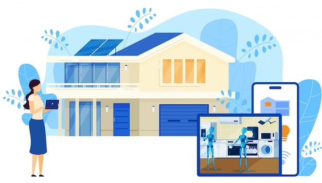 接続されているスマートホームセキュリティと制御技術システム、インターネットネットワークを介してデバイス、漫画イラスト。